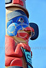TotPol 00245 A well carved, excellent condition, colorful, bird of prey inspired totem pole detail picture by Peter J  Mancus
