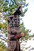 TotPol 00035 The top of a top, weathered, detailed, unique totem pole, with a seagull resting on top of a carved bird, totem pole picture by Peter J  Mancus