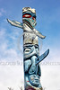 TotPol 00871 An interesting blue color based tall totem pole with wings and a long nose totem pole picture by Peter J  Mancus