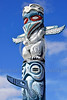 TotPol 00075 An interesting blue color based tall totem pole with wings and a long nose totem pole picture by Peter J  Mancus
