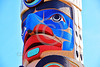 TotPol 00362 A well carved, excellent condition, colorful, face totem pole detail picture by Peter J  Mancus