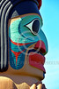 TotPol 00789 A well carved, excellent condition, colorful, human face totem pole detail picture by Peter J  Mancus
