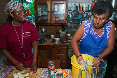 "Tamales making - Belizean food preparation in a mestizo kitchen. Mixing ingredients to make ""col""."