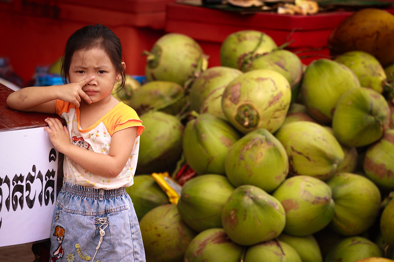 The little coconut seller, Siem Reap.