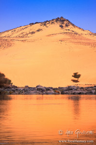 Sandy hills overlooking Nile river, Aswan.