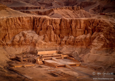 Aerial view of Hatshepsut memorial temple at Deir el-Bahari, Luxor.