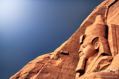 Colossal statue of Ramesses II at the entrance of Temple of Ramesses, Abu Simbel.
