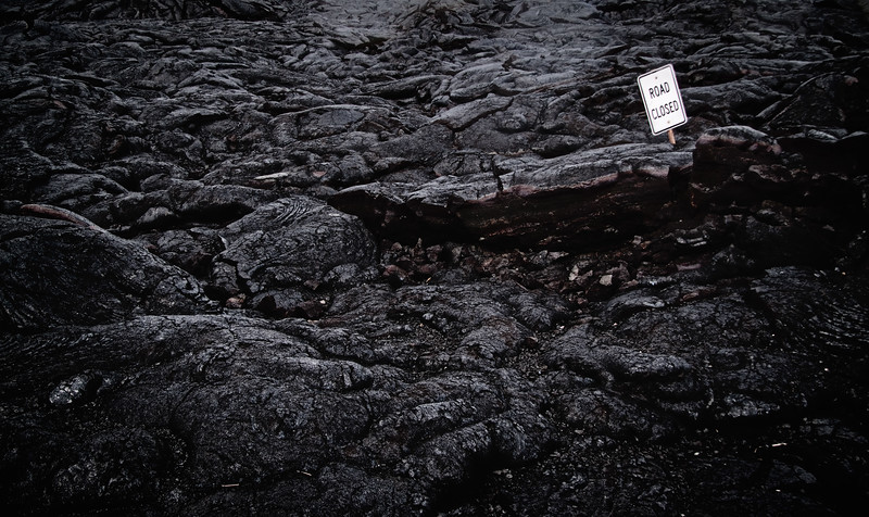 """""""Road Closed""""<br /> <br /> Lava rock on Chain of Craters road, Big Island."""