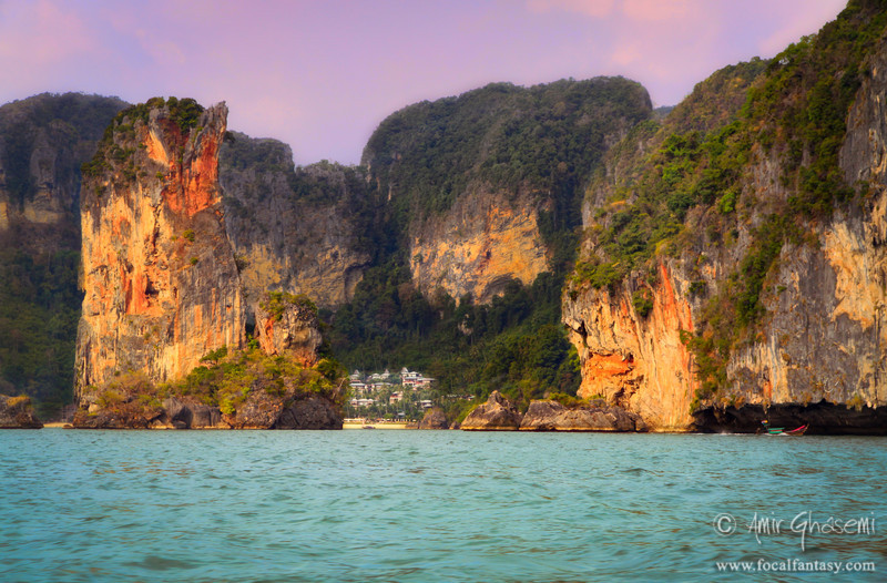 Sunset light over limestone cliffs, Railay bay, Krabi.