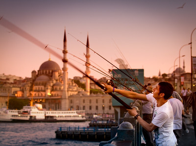 Fishermen on Galata bridge, Istanbul.