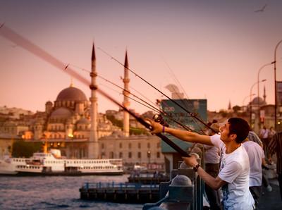 Fishermen on Galata bridge, Istanbul.