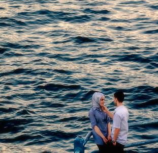 """A Bosphorus Love Story""  Under the Galata bridge, Istanbul."