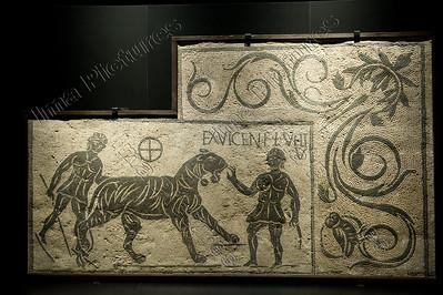Gladiatoren,mosaic,mozaïek,mosaïque,venatores,animalfigters,dierenvechters,exhibition,tentoonstelling,exposition