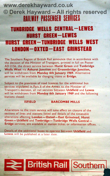 A copy of the British Rail closure notice, dated 17. 10.1968.  Eric Kemp retains all rights to this image.