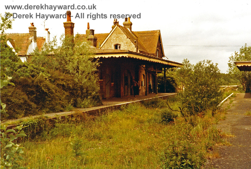 After closure, roughly the same view. A north facing shot of Barcombe Mills station in 1983, prior to the auction of the site, which was looking very sad.  Nick Mander retains all rights to this image and I am grateful to him for supplying some historic images for this gallery.