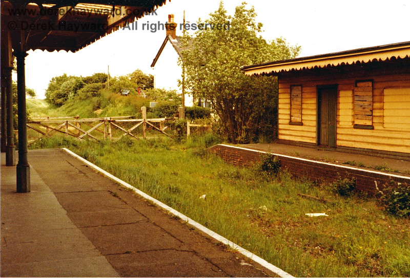 And after the train had gone, this was what was left.  Looking north from Barcombe Mills station in 1983, prior to auction. At the time there was no discernible path towards Isfield, as currently exists. Nick Mander retains all rights to this image.