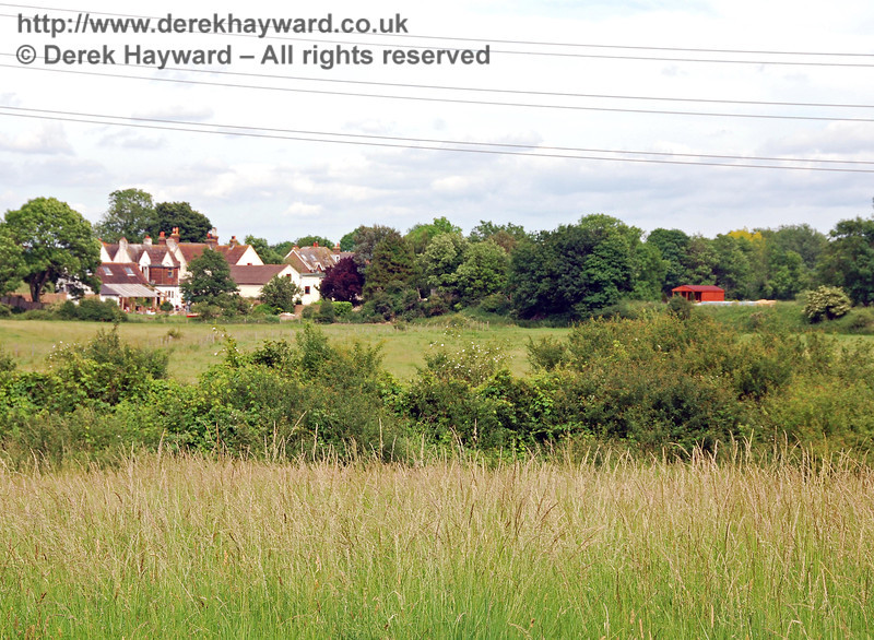 A second view of the Barcombe Mills buildings from the Barcombe embankment.  The shed on the right is on the site of the old station.  17.06.2007