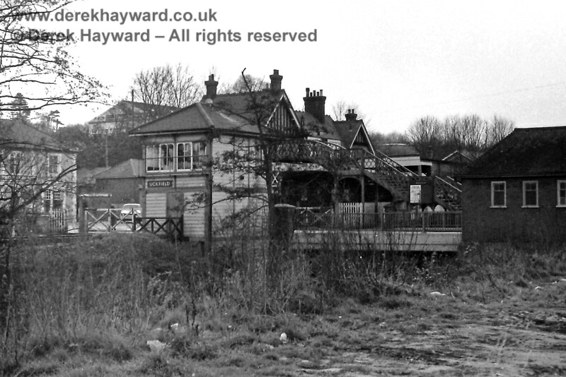 Uckfield on 16.03.1975, viewed from behind the signal box.  Eric Kemp retains all rights to this image.