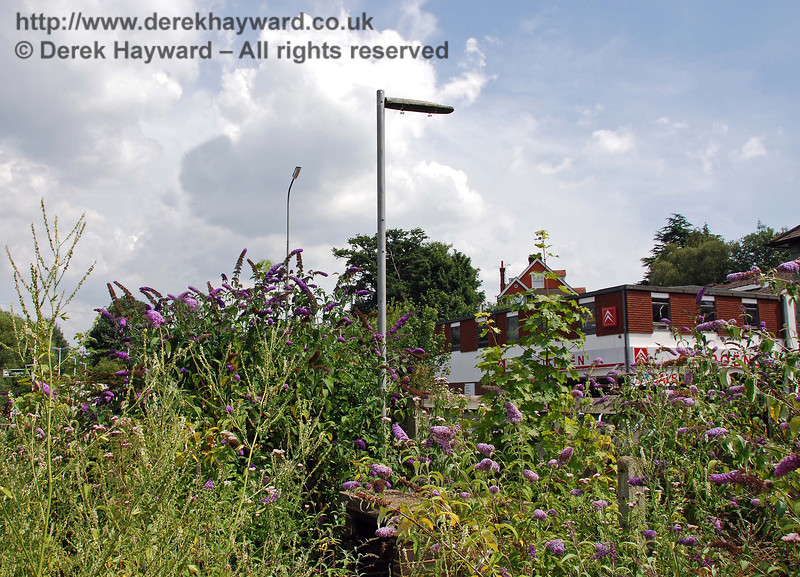 An old lamp remains on stand by to light the forecourt. Uckfield Old Station 27.07.2008