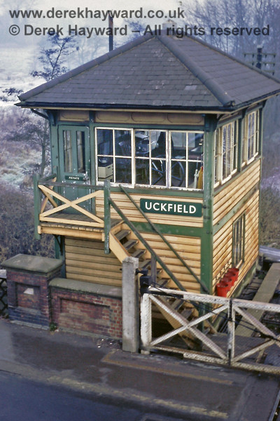 Uckfield Signal Box pictured on 01.01.1969.  The fields behind the box show evidence of a fall of snow.  See also the next photo.  Eric Kemp retains all rights to this image.