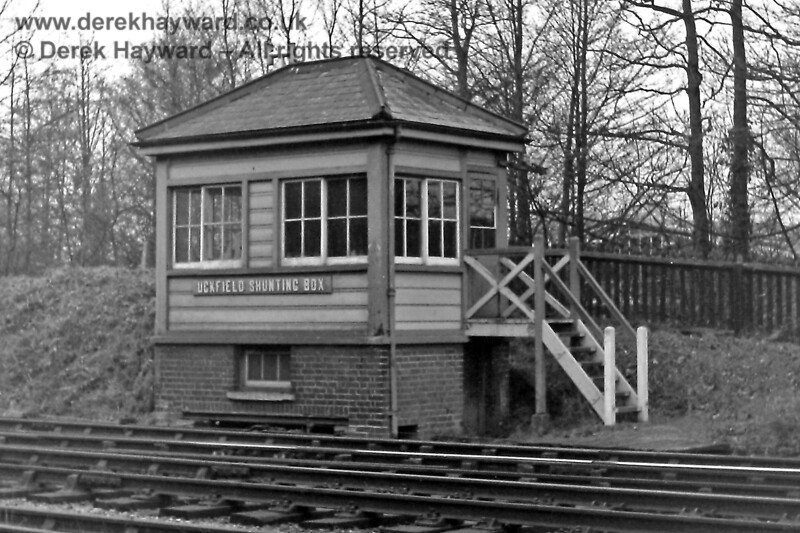"""At the south end of the station was Uckfield Shunting Box, pictured on 30.12.1969.  The box would have been opened """"as required"""" when the goods yard was in use.  Eric Kemp retains all rights to this image."""