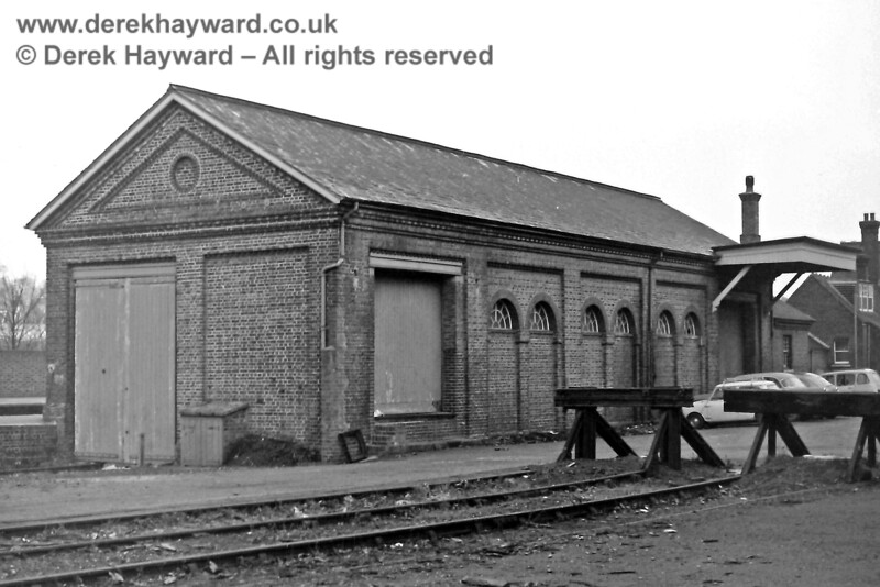 Uckfield goods shed, pictured on 30.12.1969.  The rail access door is on the left, the approach being through the goods yard from the south.  Eric Kemp retains all rights to this image.