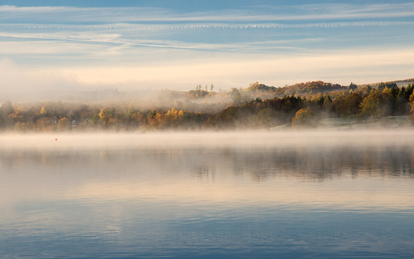 Misty autumn morning on #Windermere lake