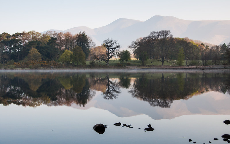 Mountain reflections in Derwent Water lake