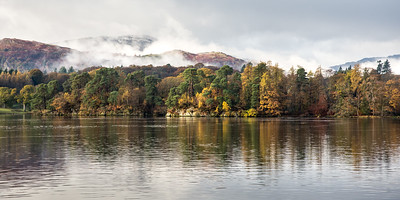 Autumn mist on Lake District mountains