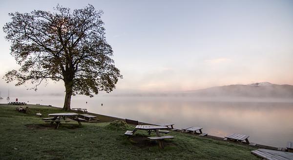 Misty autumn morning at YHA Ambleside