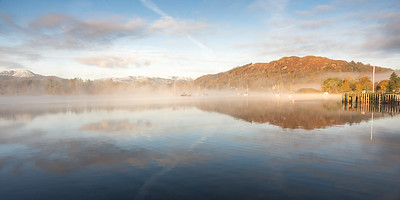 Mist and reflections on Windermere lake