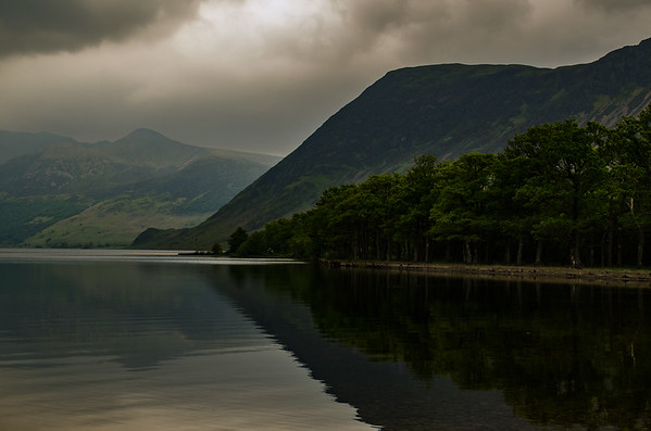 Mellbreak looming over Crummock Water with the clouds descending.