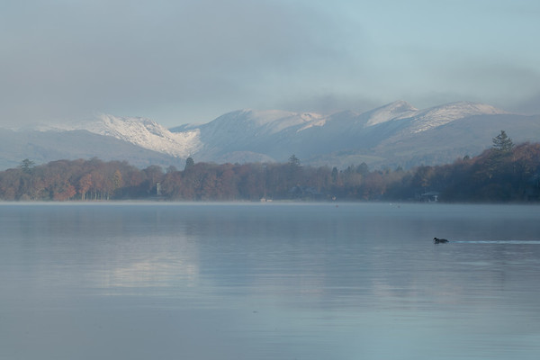 Snow over the mountains above Windermere, Cumbria<br /> Taken a few kilometres south of Bowness