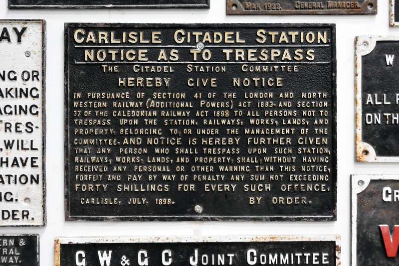 Carlisle Citadel station trespass notice, Statfold Barn Railway, 2015