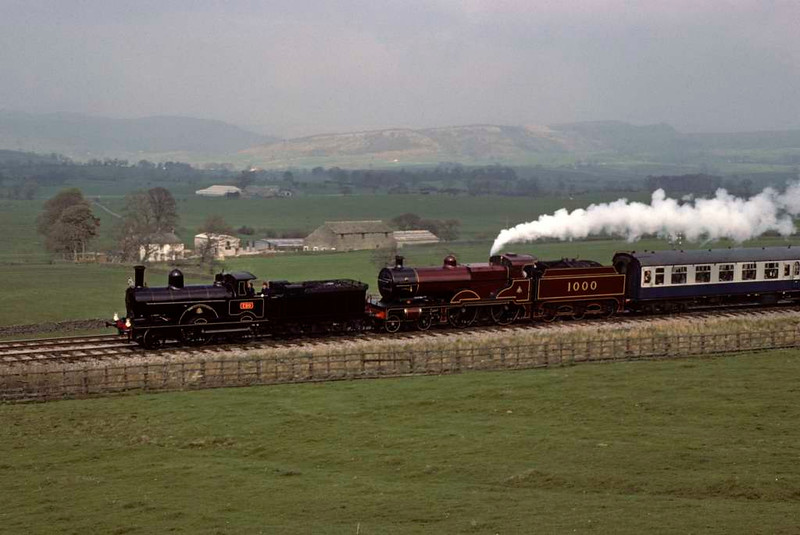 LNWR 2-4-0 790 Hardwicke & Midland Compound 4-4-0 1000, approaching Clapham, Sat 24 April 1976.  Photo by Les Tindall.