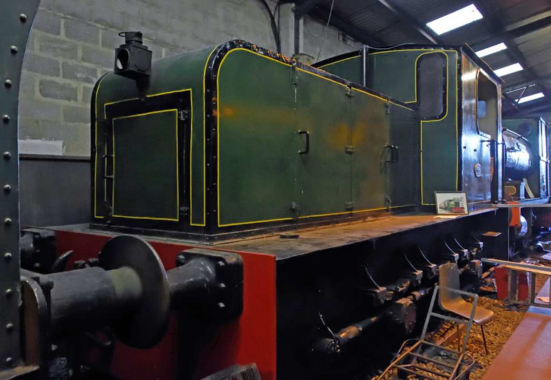 Standard gauge Kerr Stuart 6wDM (4421 / 1929) was supplied new to the Ravenglass & Eskdale Railway, where it worked until 1955.  It was one of the last locos built by Kerr Stewart, who closed down in 1930.  It is now preserved on the Foxfield Railway, where it is seen on 27th September 2015.