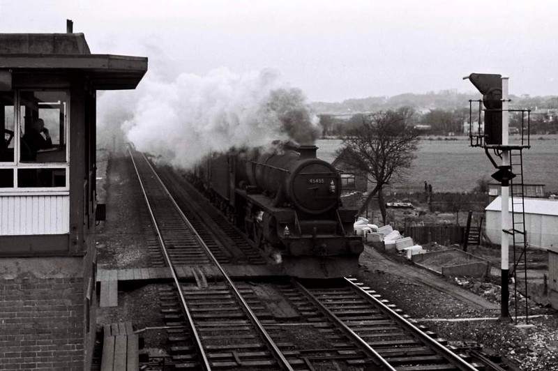 45455, Hest Bank, 25 March 1967    The signalman is on what used to be called the 'blower' as the Black 5 heads south.  It lasted until August. The crossing had been removed by August.