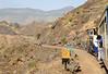 Matheran Light Rly NDM1 No 502, climbing to Jummapatti, Sun 18 March 2012 - 1116.  The line ahead can be seen climbing in the left distance.