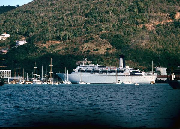 Cunard Ambassador or Adventurer in St Thomas 4/75. We were on Raffaello on one of her last trips.