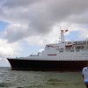 QE2 sails from Ft. Lauderdale, April 2008.<br /> Dave Henke Photo.