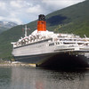 QE2 docked at Flan?? Norway - Summer 2008.<br /> Dave Henke Photo.