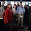 Happy people ready to board, eventually. <br /> OLYMPUS DIGITAL CAMERA