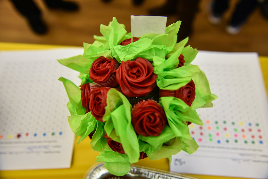 . (02/11/18 TOWNSEND MA) A creative bouquet of cupcakes are on display at the Townsend Public Library\'s Cupcake Festival on Sunday. SENTINEL & ENTERPRISE JEFF PORTER