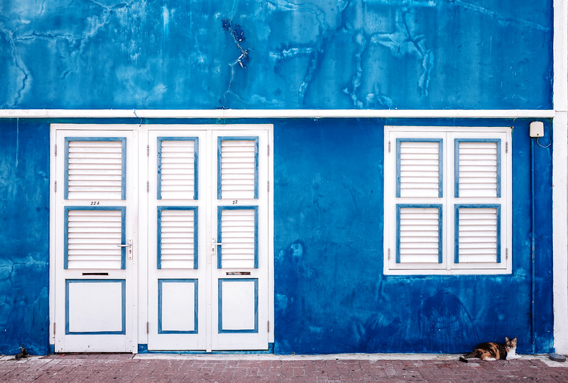 House facade in the Otrobanda District in Willemstad, Curacao.