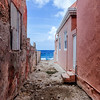 Alley leading up to the ocean in the Pietermaai District, Willemstad in Curacao.