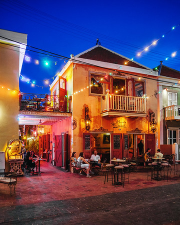 Night time in the Pietermaai District, Willemstad, Curacao.
