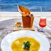 A lunch with a view. Pumpkin soup with crème fraiche et and croutons, and cheese balls with sweet sour chili dip.