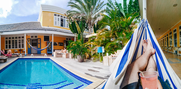 Chilling in a hammock at the Boutique Hotel 't Klooster in Willemstad, Curacao.