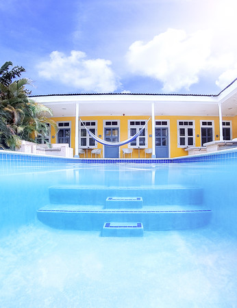 Outdoor pool at the Boutique Hotel 't Klooster in Willemstad, Curacao.