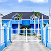 Blue house in the Pietermaai District in the city of Willemstad in Curacao.